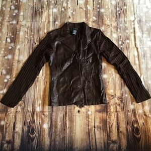 George Brown Leather Sweater Jacket